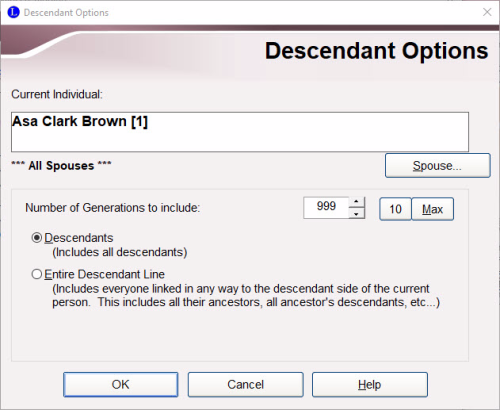 Descendant Options screen