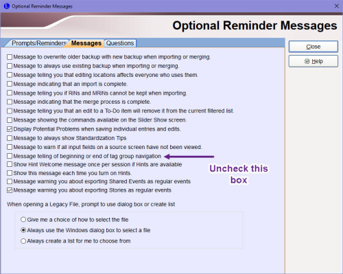 Optional Reminder Messages