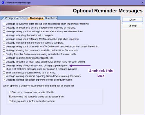 Optional Reminder Messages