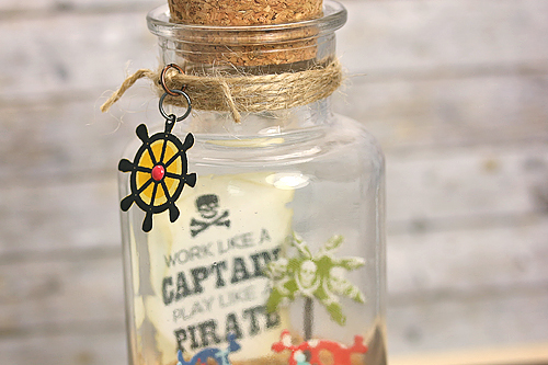 "Bottled Pirate Message by Courtney Kelley with the ""Pirate's Life"" collection, designer dies, and designer stamps by #EchoParkPaper"