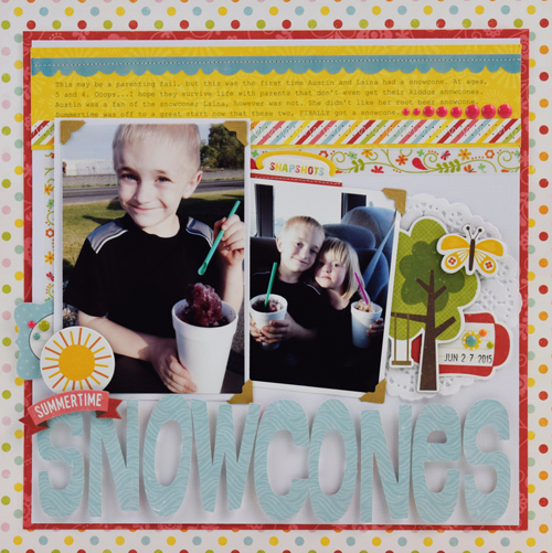 """Snowcones scrapbook layout by Becki Adams with the """"Happy Summer"""" collection by #EchoParkPaper"""