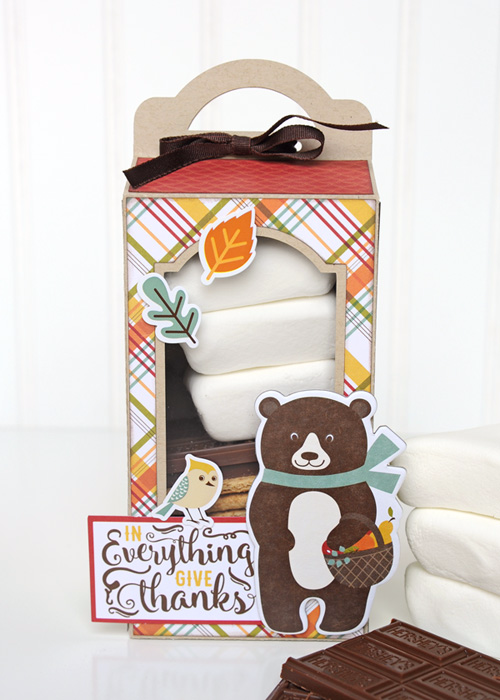 "S'mores treat boxes created by Jana Eubank with the ""Fall is in the Air"" collection from #EchoParkPaper"