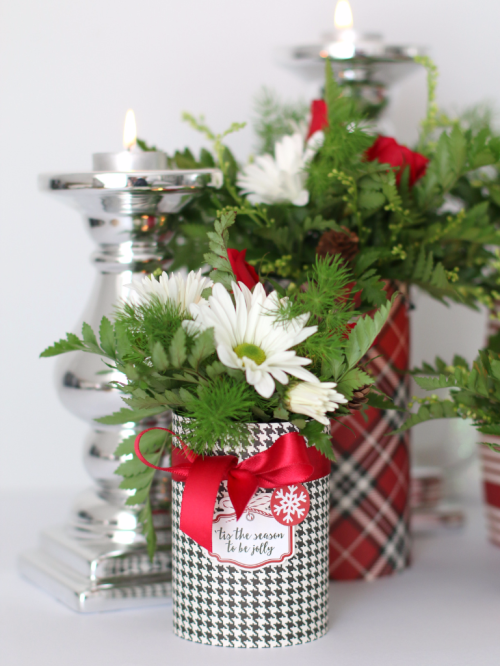 "Anya Lunchenko Created these stunning holiday floral centerpieces with the ""Christmas Delivery"" collection by #CartaBellaPaper"