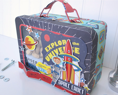 "Create an out of this world lunch box like this one by Jana Eubank with the ""Space Academy"" collection by #CartaBellaPaper"