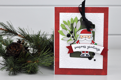Christmas Card Inspiration Week: Seasons Greetings Card by Jen Gallacher for #EchoParkPaper and #CartaBellaPaper