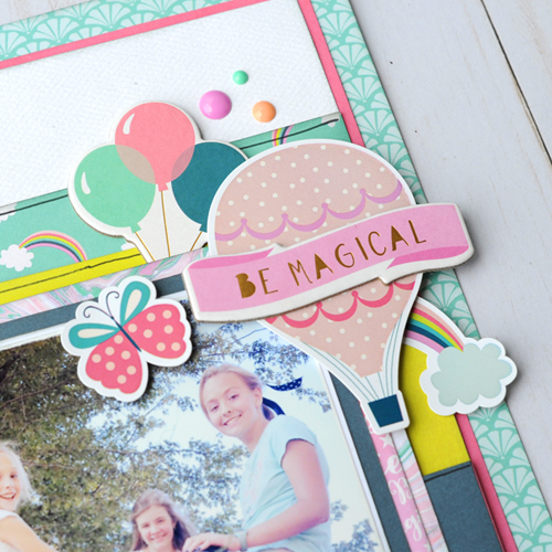 "Happy Girls layout by Jana Eubank featuring the ""Imagine That Girl"" collection from #EchoParkPaper"