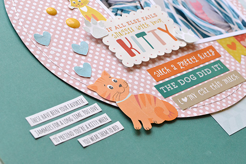 """Kitty Jammies layout by Aly Dosdall for #EchoParkPaper. This scrapbook page shows fun ways to use the """"Meow"""" collection, enamel dots, designer stamps, and coordinating stickers!"""