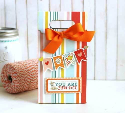 "Gift bag by Holly Gagnon featuring the ""Meow"" collection by #EchoParkPaper and #Silhouette cut files. Banner and Label stickers are the perfect embellishment!"