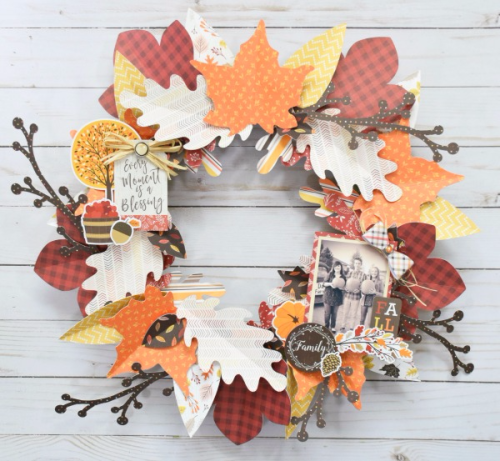 "Beautiful Fall wreath by Tya Smith with the ""Hello Fall"" collection and Silhouette shapes from #CartaBellaPaper"