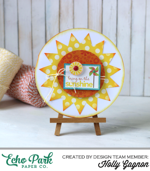 """Sunshine Card by Holly Gagnon with the """"Sweet Summertime"""" collection by #echoparkpaper"""