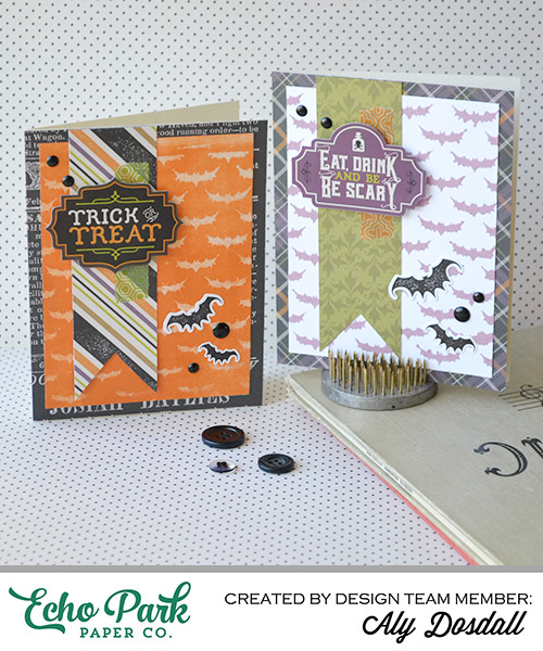 """Halloween Stenciled Card Set by Aly Dosdall with the """"Hocus Pocus"""" collection and designer stencil by #EchoParkPaper"""