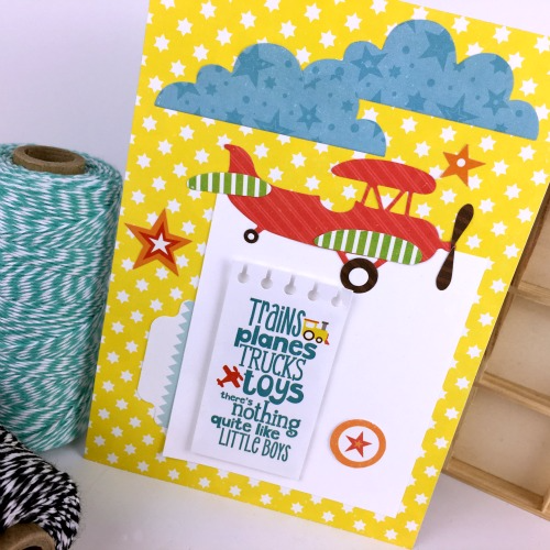 "Airplane Card by Tania Willis for #EchoParkPaper with the ""Little Boy"" Collection and coordinating Designer Dies"