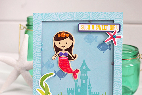 """Sweet Girl"" Shaker card by Kimberly Crawford with the ""Let's Be Mermaids"" collection from #EchoParkPaper"