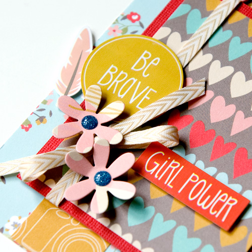 """Girl Power"" card by Tegan Skwiat with the ""Girl Cousins"" collection and designer dies from #EchoParkPaper"