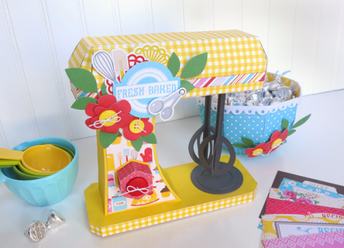 """Paper Crafted Kitchen Mixer by Jana Eubank with the """"Happiness is Homemade"""" collection by #EchoParkPaper"""