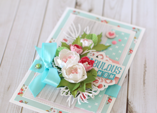 Create a gorgeous floral card for Mother's Day.  This inspiring card was created by Anya Lunchenko for #EchoParkPaper