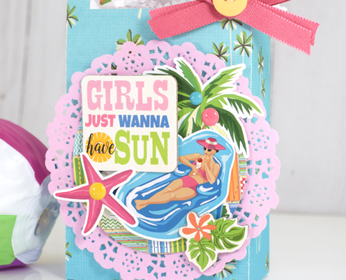 """Girls Just Wanna Have Sun"" gift bag by Tya Smith with the ""Summer Splash"" collection by #CartaBellaPaper"
