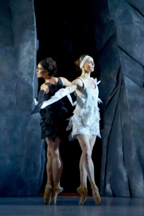 photo © Laurent Philippe April Ball as the Black Swan and  Anja Behrend as the White Swan