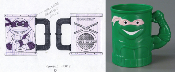 Left: From the Garth Parker premium toy design papers. Right: Teenage Mutant Ninja Turtles Color Change Mug. Gifts of Garth Parker, Andrea Bolton, and Kellan Parker; courtesy of The Strong, Rochester, New York.