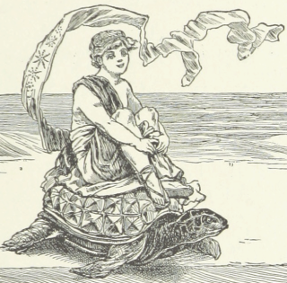 Illustration of a youth on a turtle