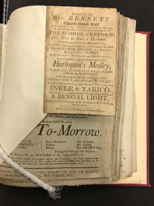 Playbills compiled into a volume