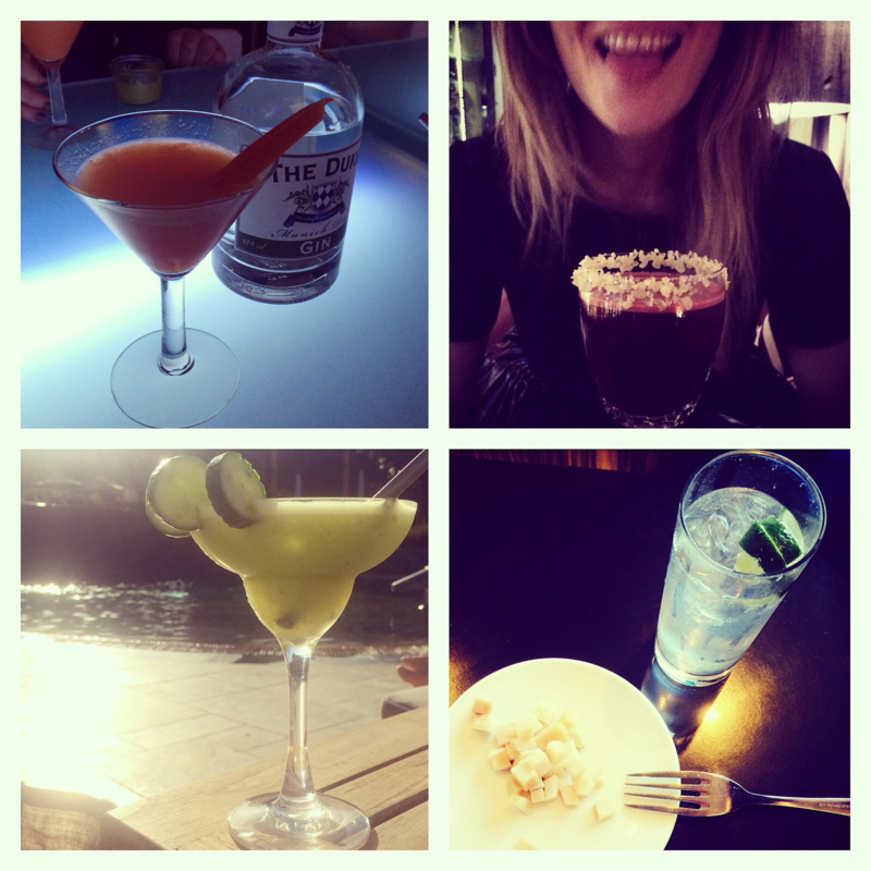 (l-r) carrot-based martinis in Munich, popping candy mojitos in Berlin, cucumber margaritas in Bodrum, gin served with fermented shark in Iceland
