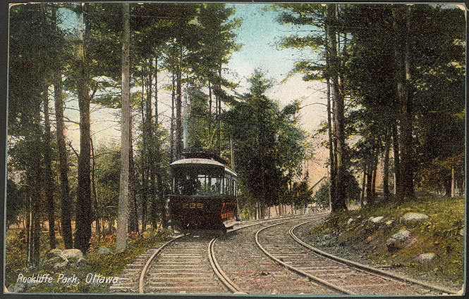 Illustrated postcard of a tram in the middle of a forested area