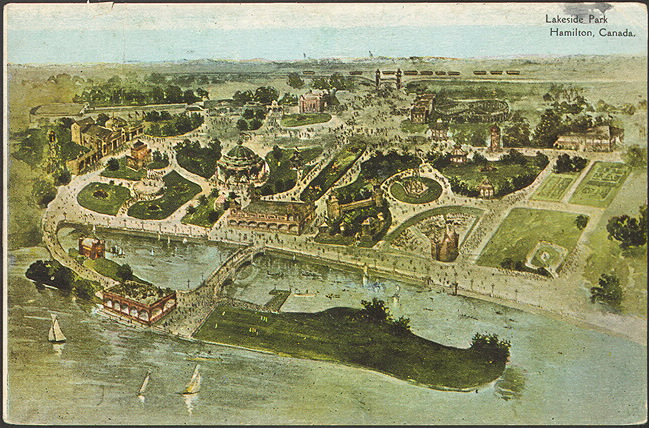 Illustrated postcard of an aerial view of Hamilton