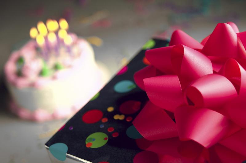 Birthday cake and present