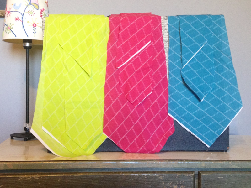 custom neckties with Cotton Lawn Ultra in progress