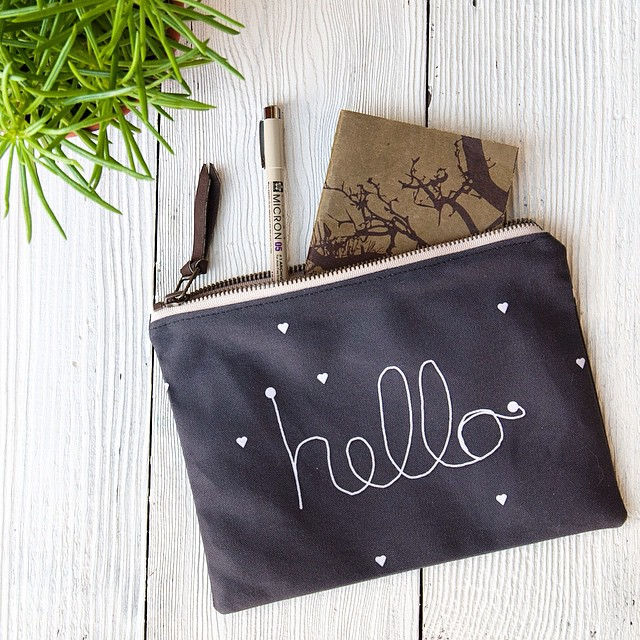 @yoursolive whipped up a lovely zipper pouch. Find it in her Etsy shop!