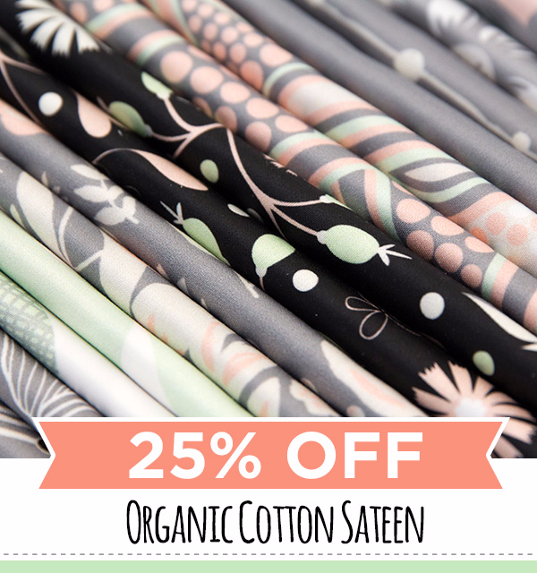 Shop 25% off one item of Organic Cotton Sateen until Sunday 02/21 at www.spoonflower.com