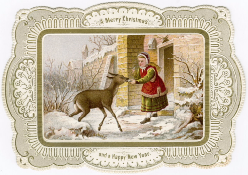 A decorative frame with an inset painting of a girl feeding a deer in the snow