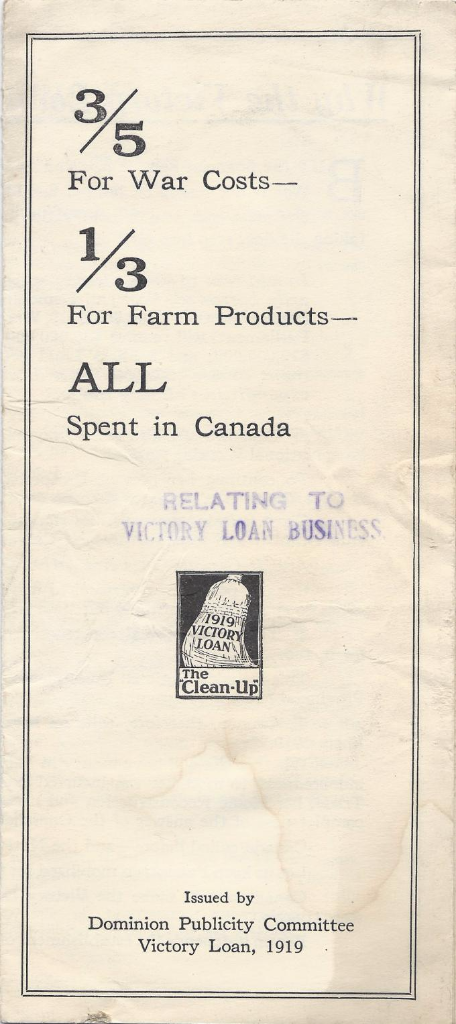 Wartime Canada: 1919 Peace and Another Victory Loan cover page with break down where funds go
