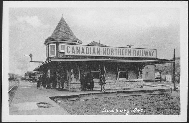 Photo of people standing around the now-defunct Canadian Northern Railway Sudbury station in 1910